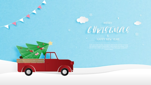 Christmas background with pine tree in truck on snow in paper cut style