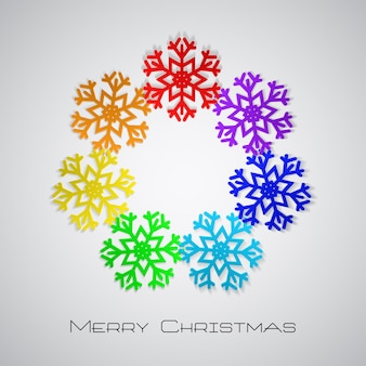 Christmas background with rainbow snowflakes