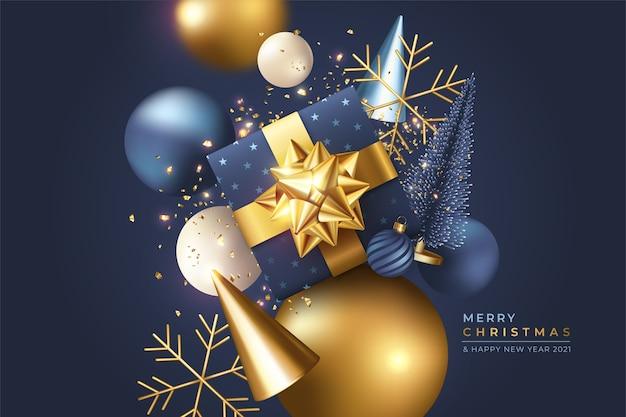 Рождественский фон с реалистичными 3d украшениями