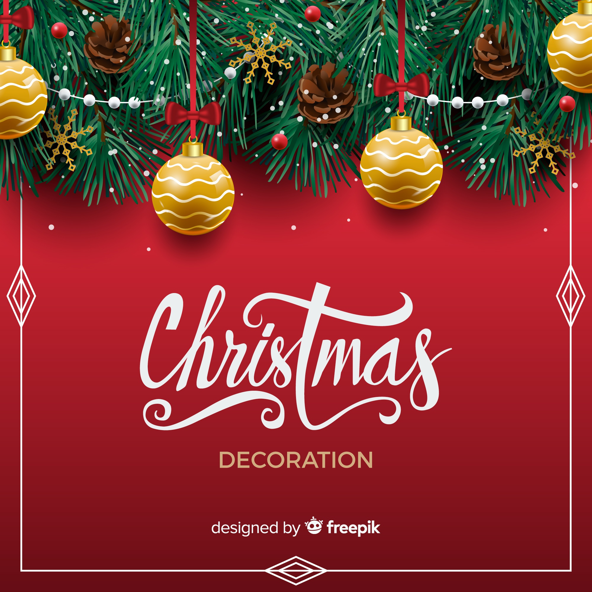 Christmas background with realistic decoration