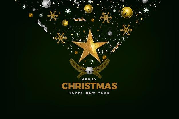 リアルな装飾が施されたクリスマスの背景