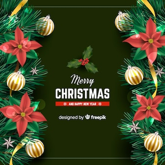 Christmas background with realistic elements