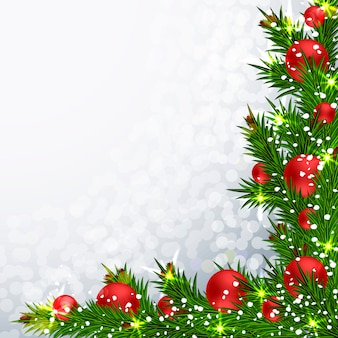 Christmas background with realistic fir branches.
