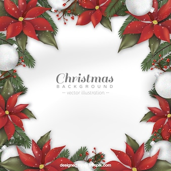 Christmas background with realistic flowers