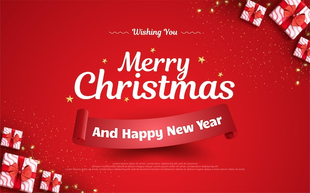 Christmas background with realistic gifts design