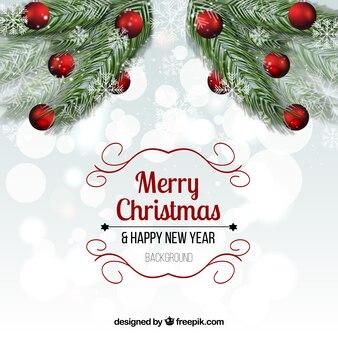 Рождественский фон с реалистичной омелой
