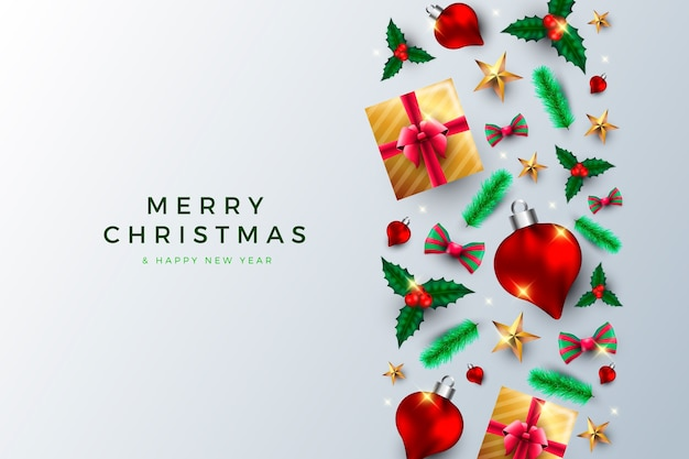 Christmas background with realistic presents and globes