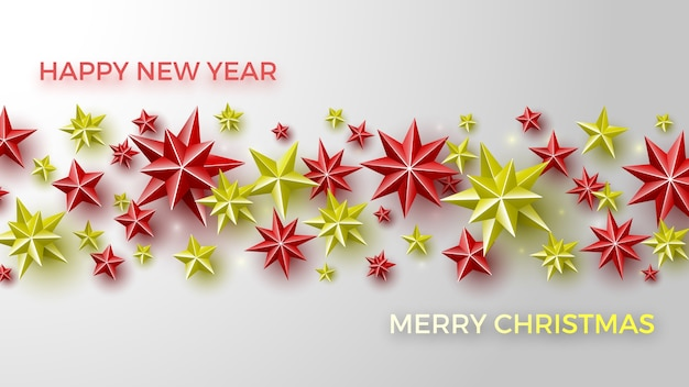 赤と黄色の星とのクリスマスの背景。
