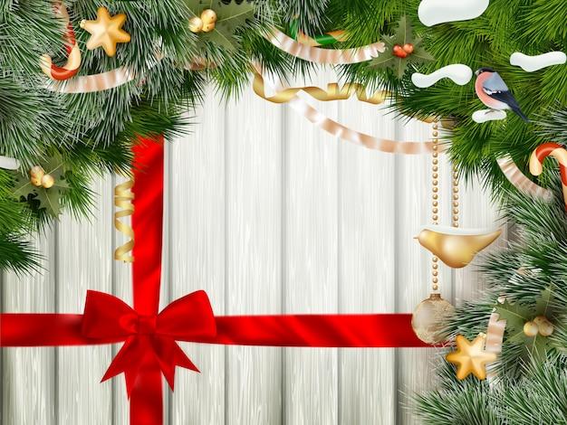 赤の弓とクリスマスの背景。