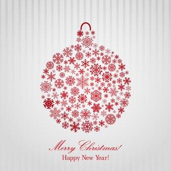 Новогодний фон с красным елочным шаром, состоящим из снежинок