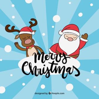 순 록과 산타 클로스와 크리스마스 배경