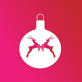 Christmas background with reindeer on the fir toy