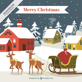 Christmas background with reindeers and houses