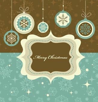 Рождественский фон с ретро узором и рамкой