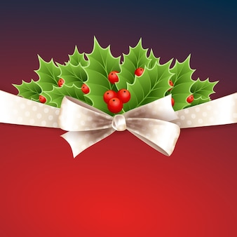 Christmas background with ribbon, bow and holly