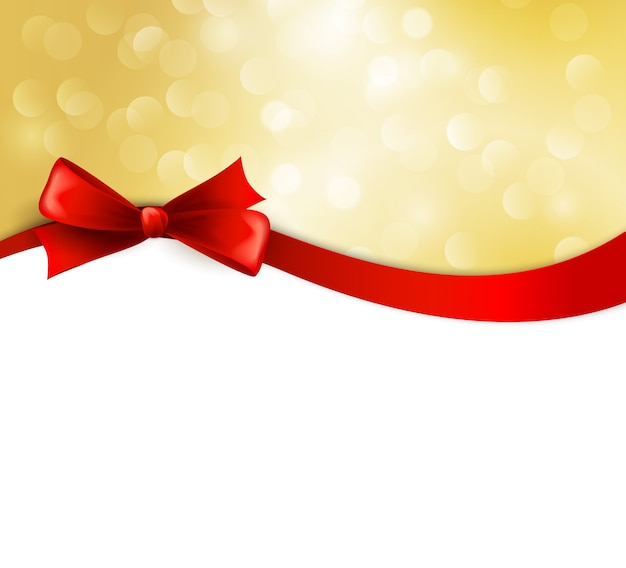 Christmas background with ribbon and bow