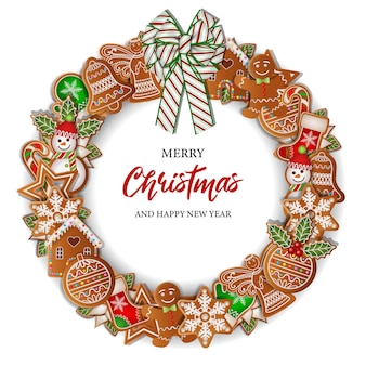 Christmas background with round gingerbreads frame christmas wreath with cookies and bow