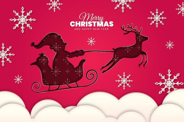 Новогодний фон с дедом морозом и оленями в бумажном стиле