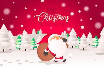 風景のサンタキャラクターとクリスマスの背景