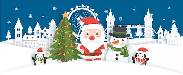 Новогодний фон с дедом морозом и друзьями на снежной деревне в стиле вырезки из бумаги.