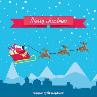 サンタクロースとトナカイとクリスマスの背景