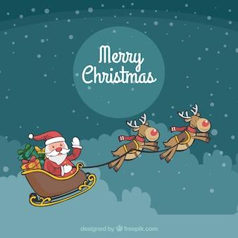 Рождественский фон с санта-клауса и оленей
