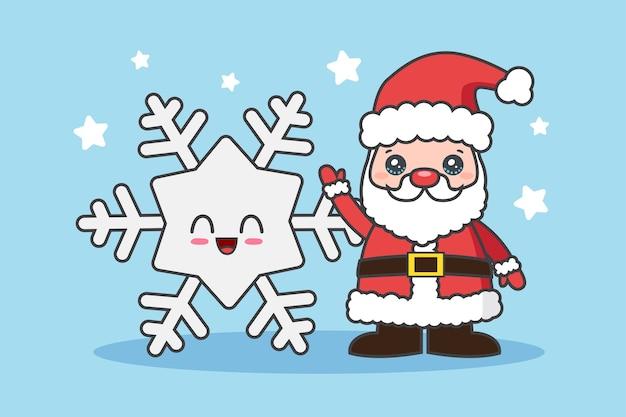 산타 클로스와 눈송이 크리스마스 배경