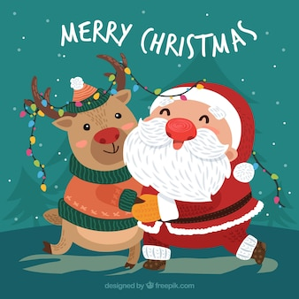 Christmas background with santa claus embracing a reindeer