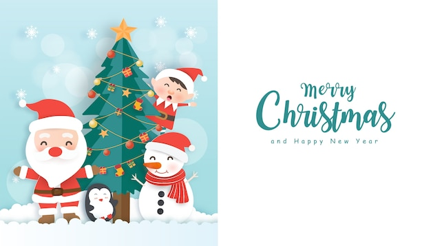 Christmas background with santa claus, friends and copy space in paper cut style.
