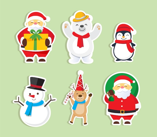 Christmas background with santa claus merry and christmas set