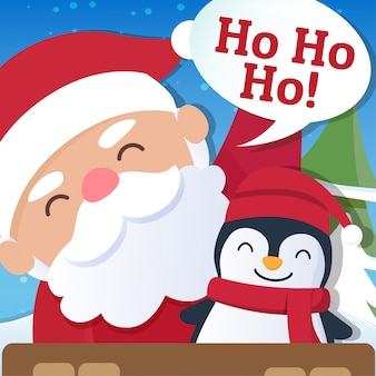 Christmas background with santa claus and merry christmas