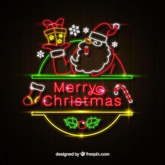 Рождественский фон с санта-клауса неоновых огней