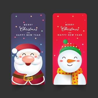 Christmas background with santa claus, snow man