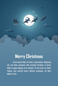 Christmas background with santa claus with full moon on the sky