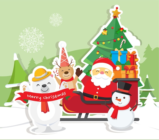 산타 클로스와 크리스마스 배경
