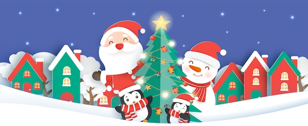 Christmas background with a santa clause and friends in the snow village paper cut and craft style.