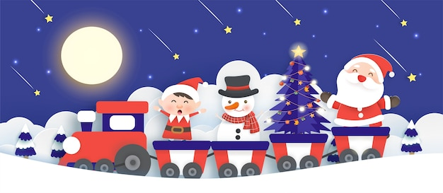 Christmas background with a santa clause and friends standing on a train in paper cut and craft style.
