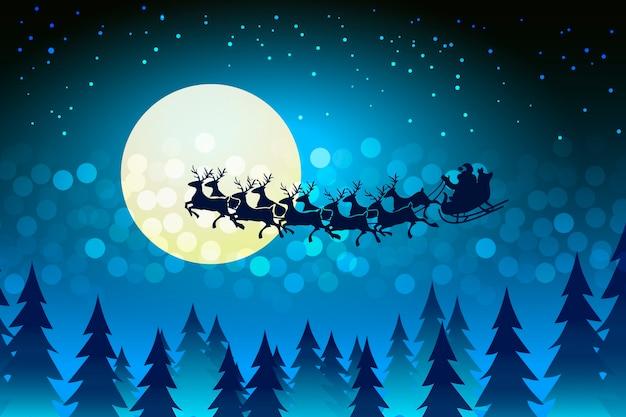 輝く光と星のコピースペースのボケ味に囲まれた星空の寒い冬の夜にサンタが月の顔を横切ってそりを運転しているクリスマスの背景