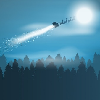Natale con sfondo santa volando attraverso il cielo