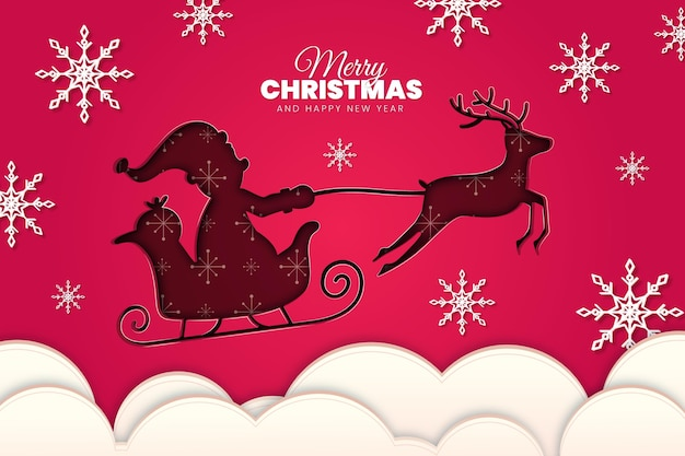 Christmas background with santa and reindeer in paper style