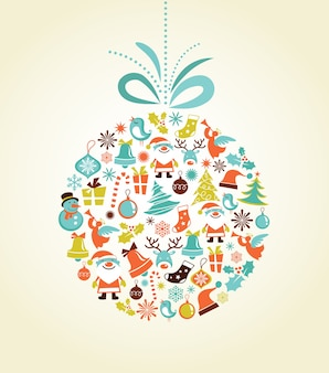 Christmas background with set of icons on the xmas ball,
