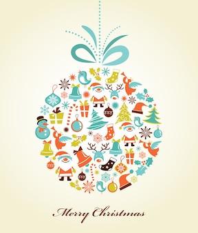 クリスマスボールのアイコンのセットとクリスマスの背景、
