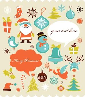 アイコンのセット、レトロなスタイルのクリスマスの背景