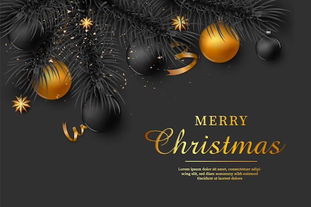 輝く金のボールとクリスマスの背景。