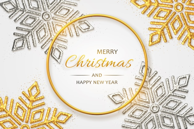 Christmas background with shining golden and silver snowflakes. merry christmas greeting card.