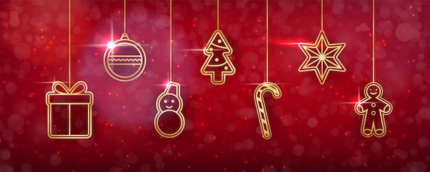Christmas background with shining golden toys.