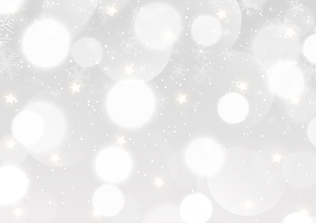 Christmas background with a silver bokeh lights and snowflakes design