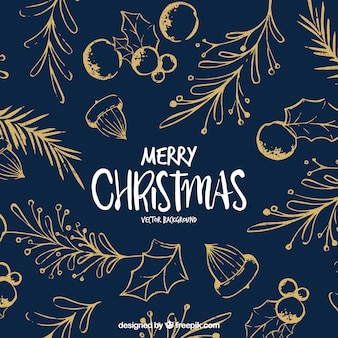 Christmas background with sketches of natural elements