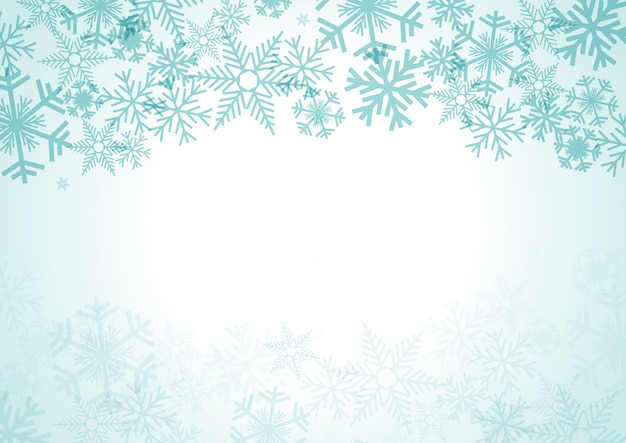 Christmas background with snowfall and ice crystals