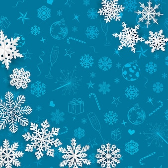 크리스마스 기호의 밝은 파란색 배경에 종이에서 잘라낸 눈송이가 있는 크리스마스 배경